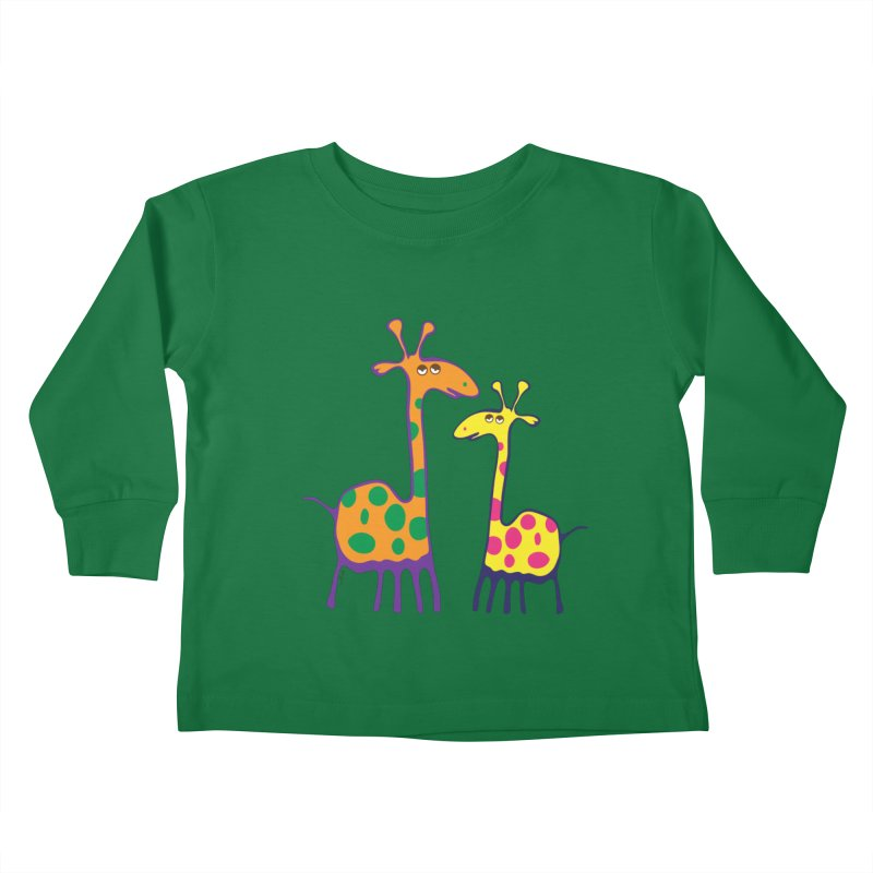 Couple of colorful giraffes Kids Toddler Longsleeve T-Shirt by Dror Miler's Artist Shop