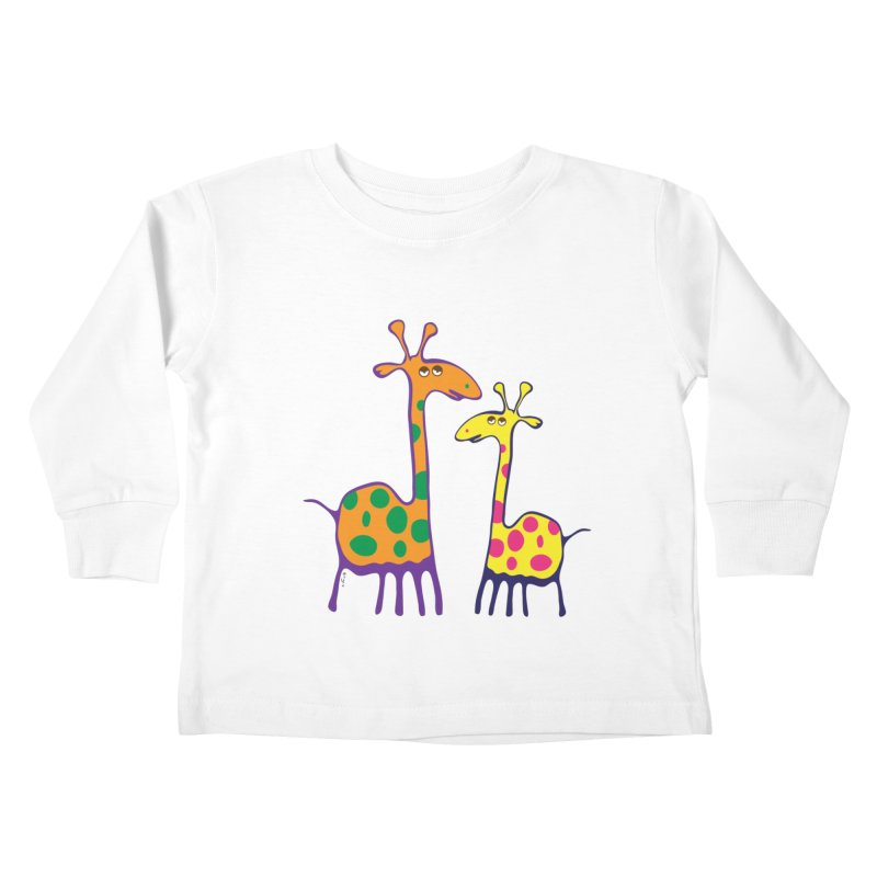 Couple of colorful giraffes Kids Toddler Longsleeve T-Shirt by Dror Miler's Artist Shop