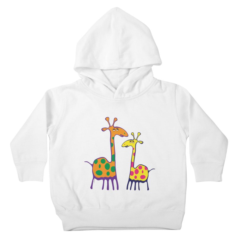 Couple of colorful giraffes Kids Toddler Pullover Hoody by Dror Miler's Artist Shop
