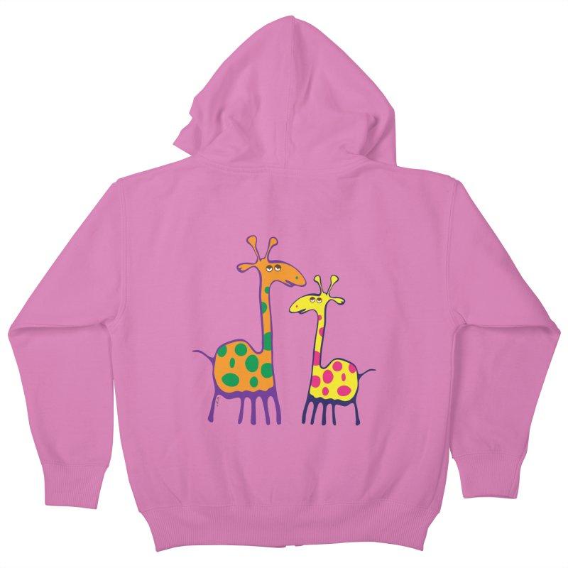 Couple of colorful giraffes Kids Zip-Up Hoody by Dror Miler's Artist Shop