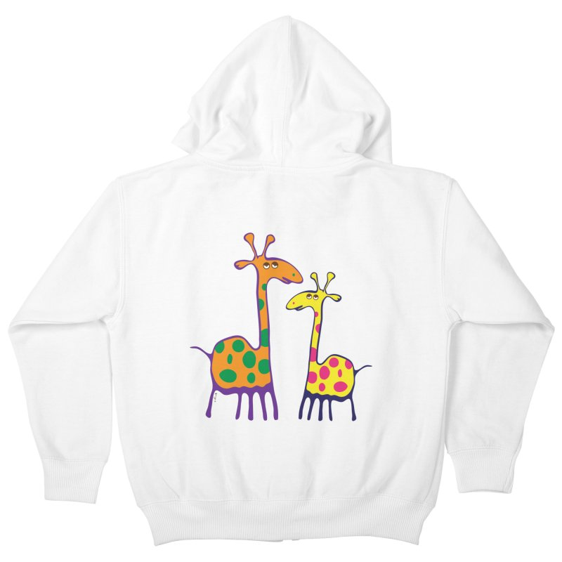 Couple of colorful giraffes Kids Zip-Up Hoody by Dror Miler's Artist Shop