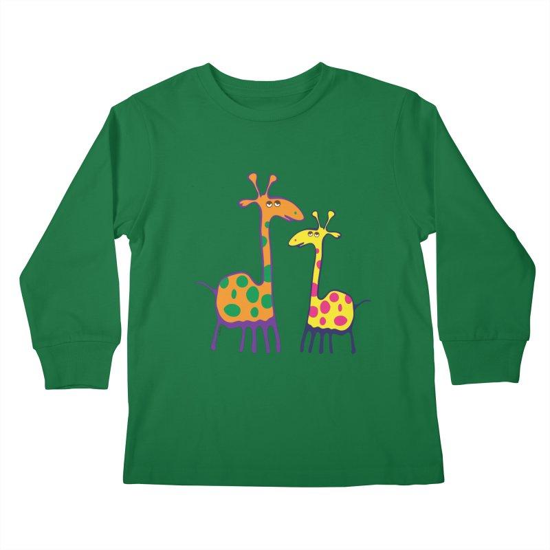 Couple of colorful giraffes Kids Longsleeve T-Shirt by Dror Miler's Artist Shop