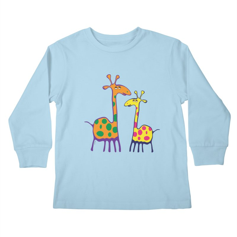 Couple of colorful giraffes Kids Longsleeve T-Shirt by Dror Miler's Artist Shop