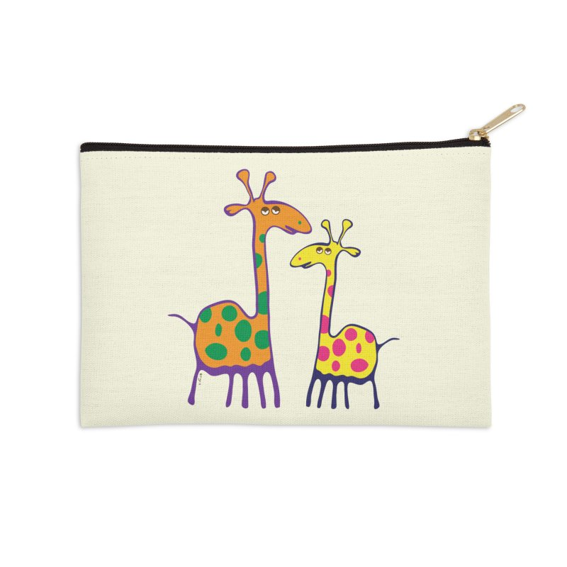 Couple of colorful giraffes Accessories Zip Pouch by Dror Miler's Artist Shop