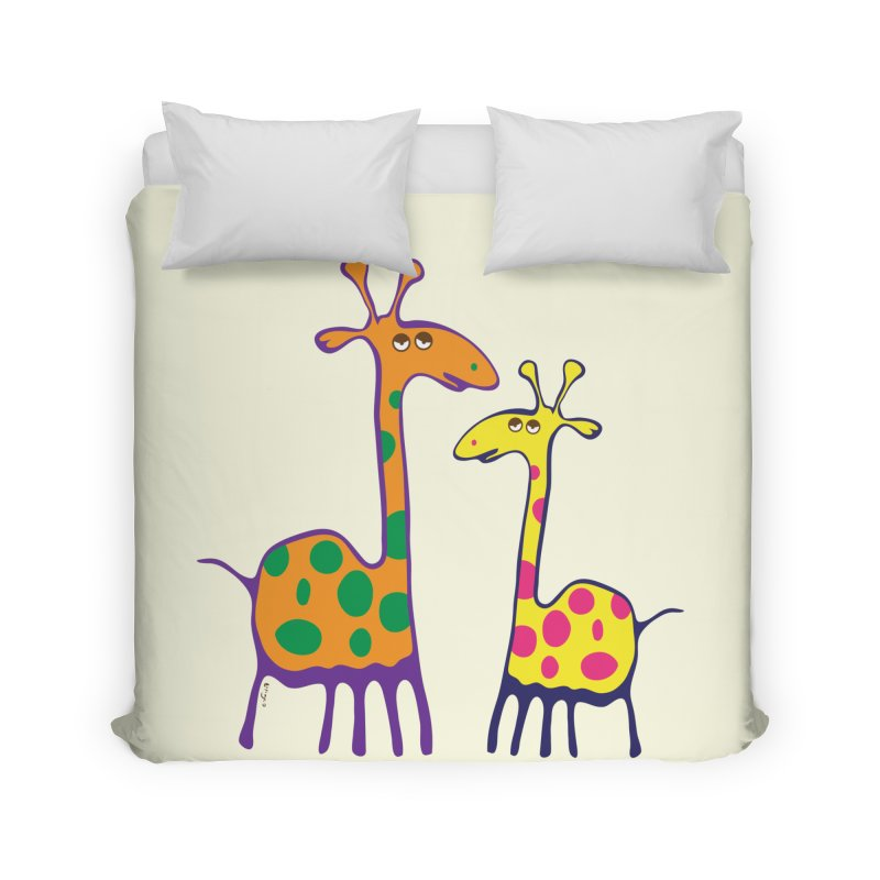 Couple of colorful giraffes Home Duvet by Dror Miler's Artist Shop