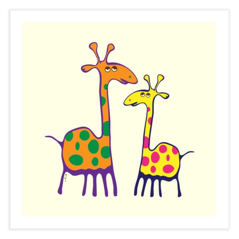 Couple of colorful giraffes Home Fine Art Print by Dror Miler's Artist Shop