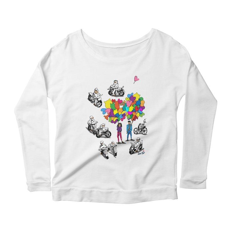Hanoi Circle Mess Women's Scoop Neck Longsleeve T-Shirt by Dror Miler's Artist Shop