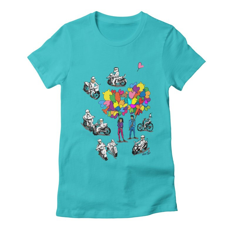 Hanoi Circle Mess Women's Fitted T-Shirt by Dror Miler's Artist Shop
