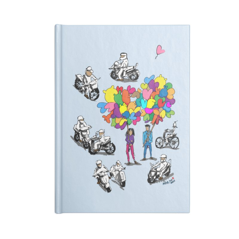 Hanoi Circle Mess Accessories Lined Journal Notebook by Dror Miler's Artist Shop