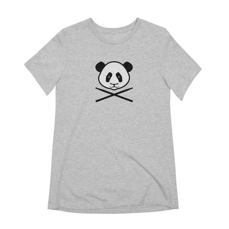 Drum Panda White Face Women's Extra Soft T-Shirt by Drum Geek Online Shop