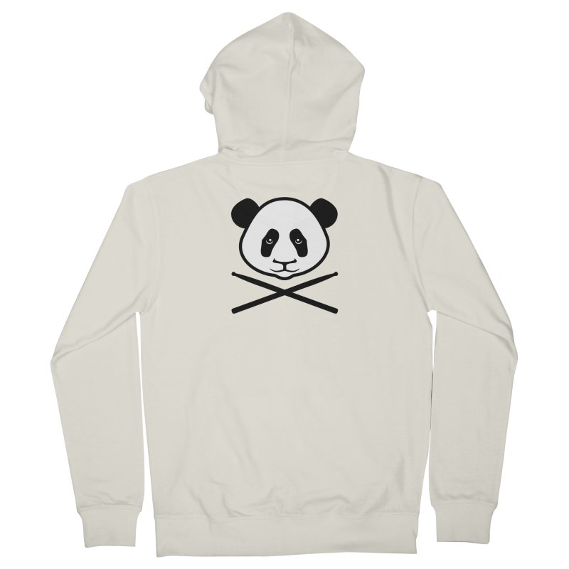 Drum Panda White Face Women's French Terry Zip-Up Hoody by Drum Geek Online Shop