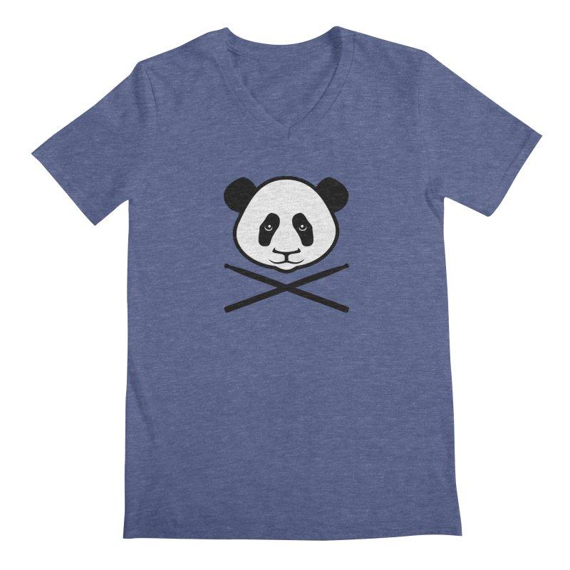 Drum Panda White Face Men's Regular V-Neck by Drum Geek Online Shop
