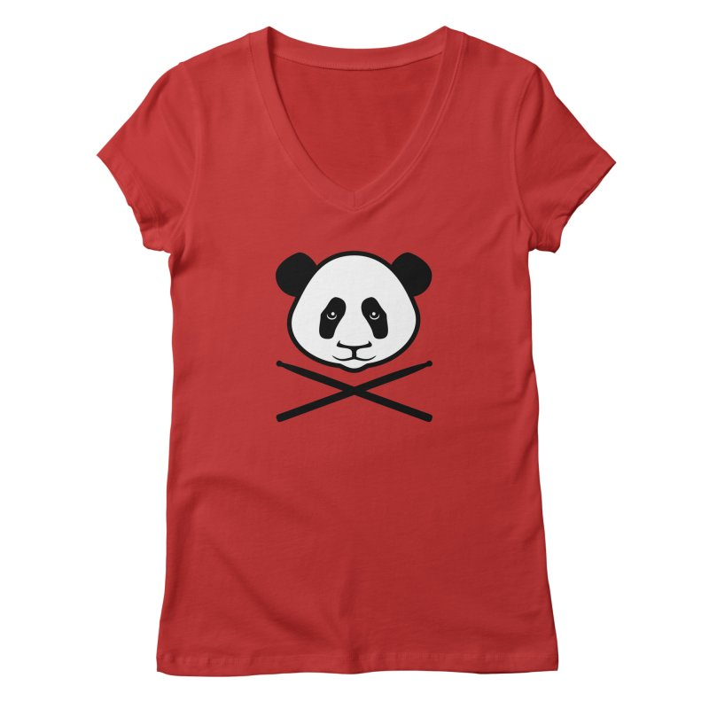 Drum Panda White Face Women's Regular V-Neck by Drum Geek Online Shop