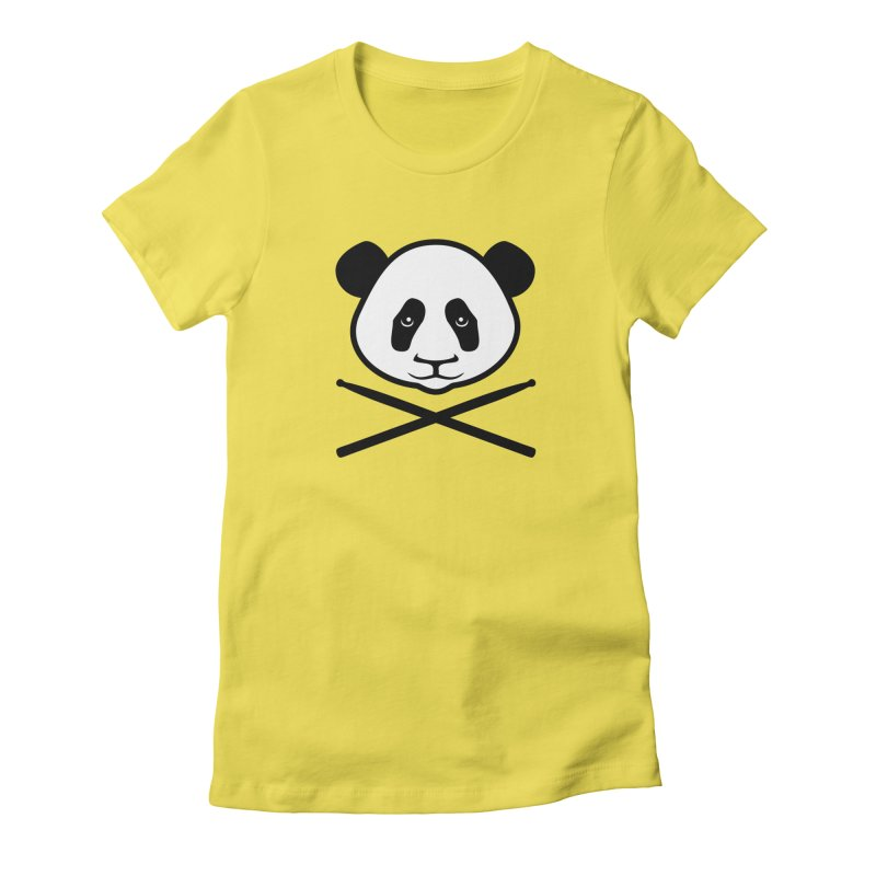 Drum Panda White Face Women's Fitted T-Shirt by Drum Geek Online Shop