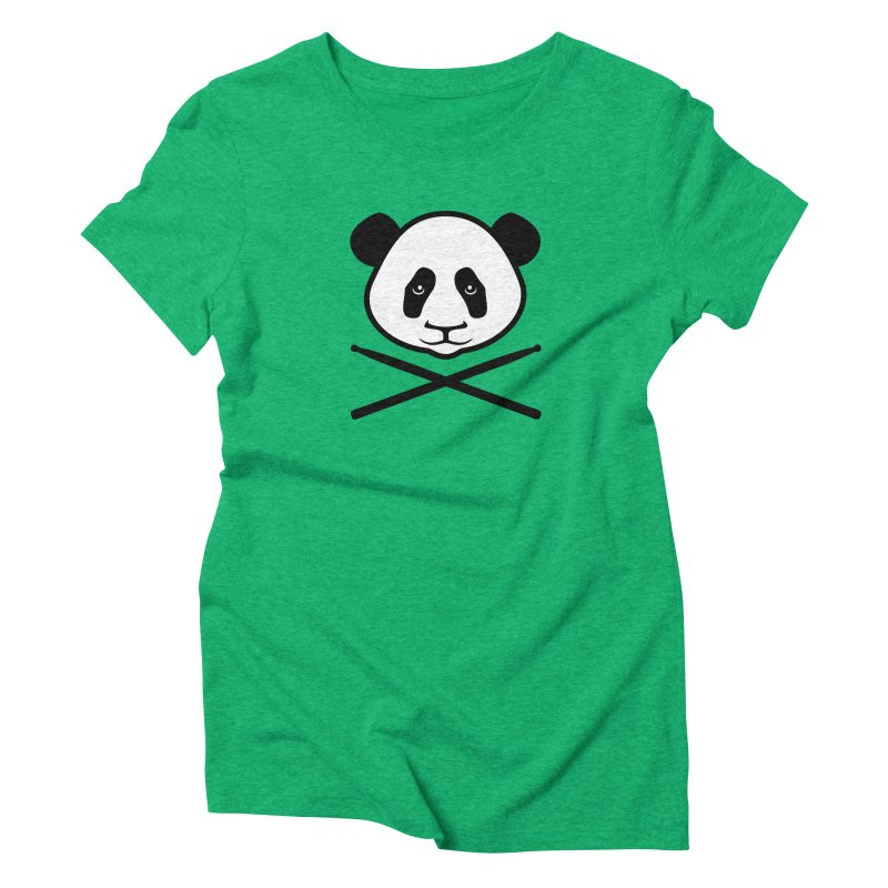 Drum Panda White Face Women's Triblend T-Shirt by Drum Geek Online Shop
