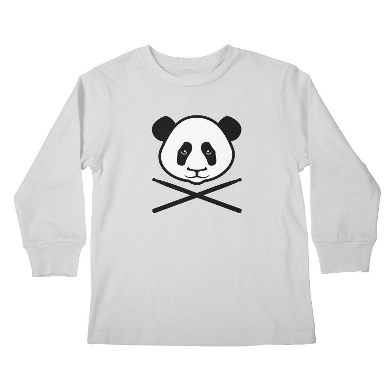 Drum Panda White Face Kids Longsleeve T-Shirt by Drum Geek Online Shop