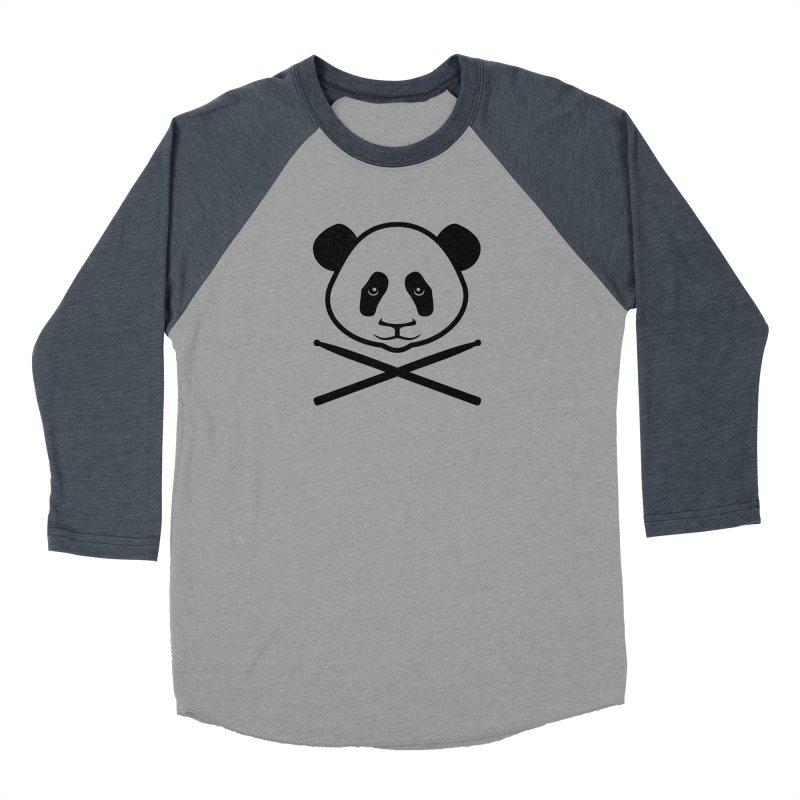 Drum Panda - Black Outline Women's Baseball Triblend Longsleeve T-Shirt by Drum Geek Online Shop