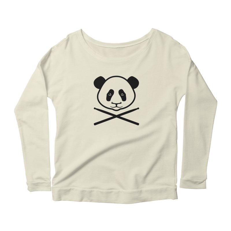 Drum Panda Transparent Women's Scoop Neck Longsleeve T-Shirt by Drum Geek Online Shop
