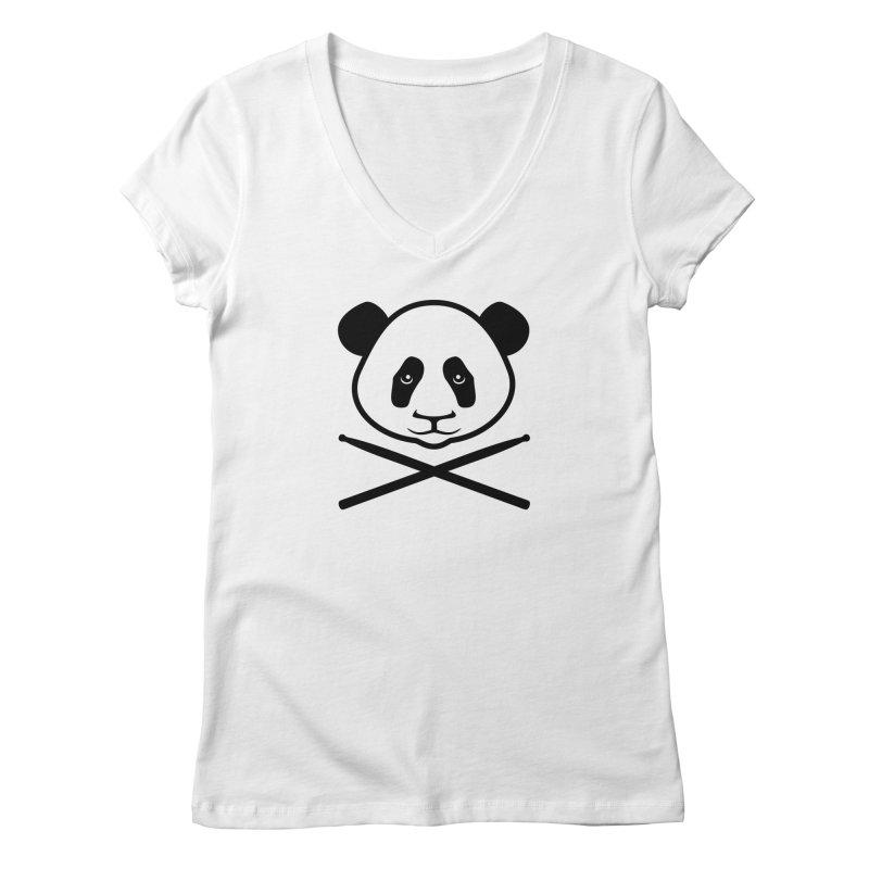 Drum Panda Transparent Women's Regular V-Neck by Drum Geek Online Shop
