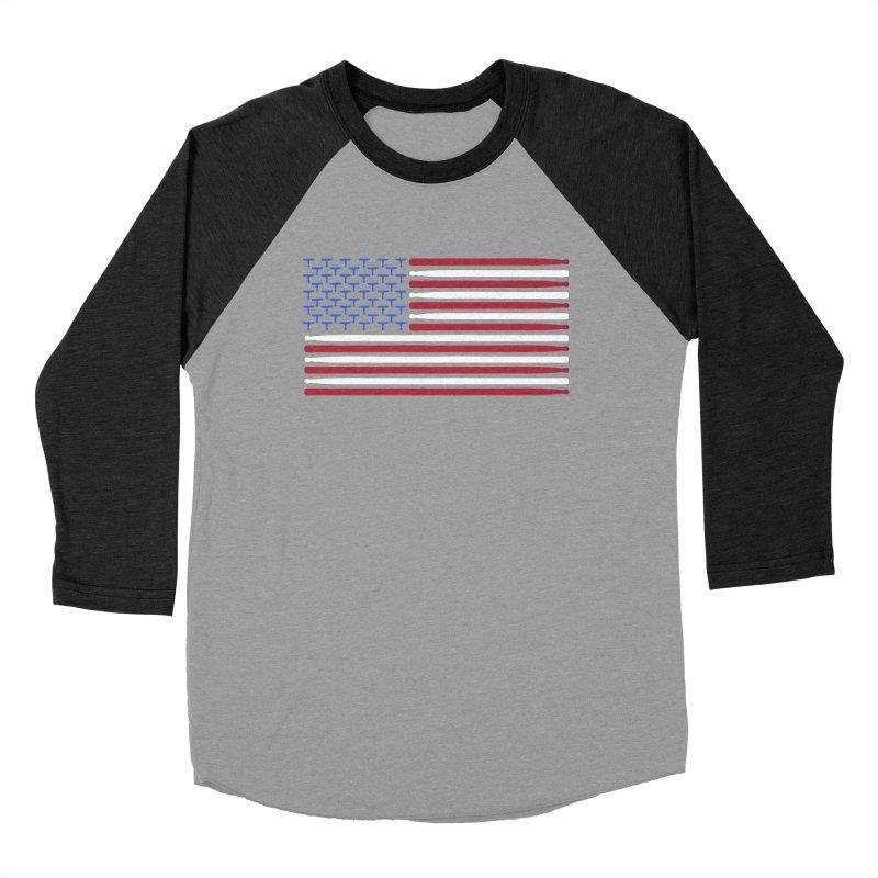 Old Glory in Men's Baseball Triblend Longsleeve T-Shirt Heather Onyx Sleeves by Drum Geek Online Shop