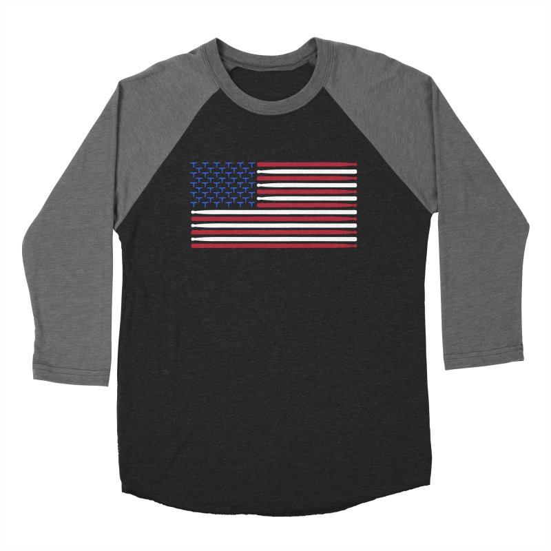 Old Glory Men's Baseball Triblend Longsleeve T-Shirt by Drum Geek Online Shop