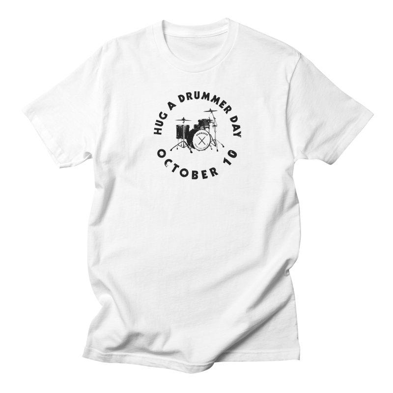 Hug A Drummer Day - Black Logo in Men's Regular T-Shirt White by Drum Geek Online Shop