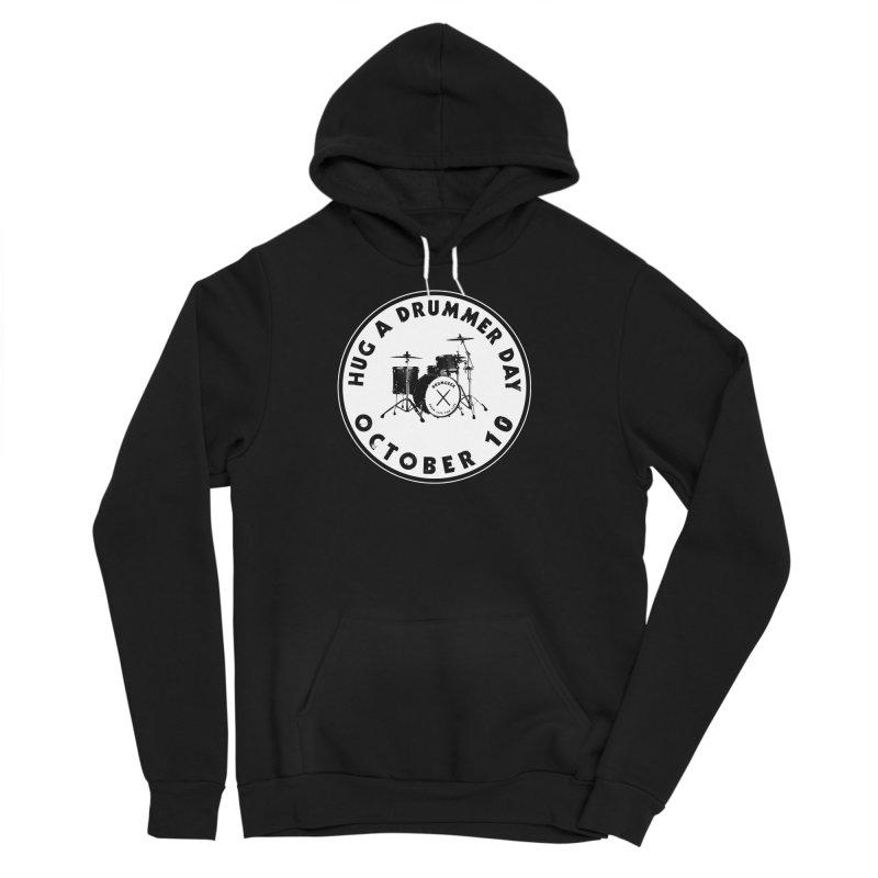Hug A Drummer Day - Solid Logo in Men's Sponge Fleece Pullover Hoody Black by Drum Geek Online Shop