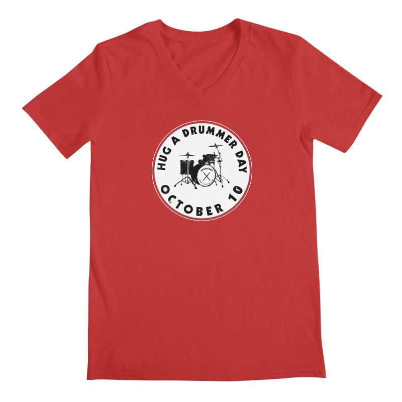 Hug A Drummer Day - Solid Logo in Men's Regular V-Neck Red by Drum Geek Online Shop