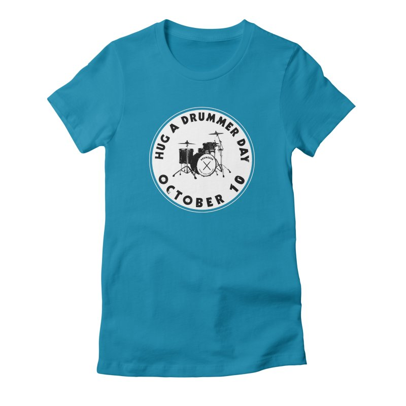 Hug A Drummer Day - Solid Logo in Women's Fitted T-Shirt Turquoise by Drum Geek Online Shop