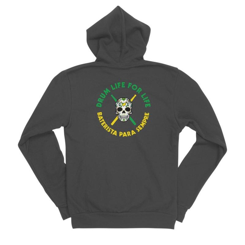 Bonsey From Brazil - 2 Color Logo Men's Sponge Fleece Zip-Up Hoody by Drum Geek Online Shop