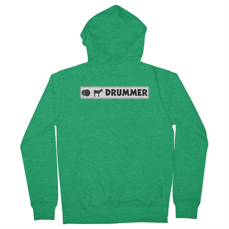 Kick Ass Drummer - White Rectangle Logo Women's French Terry Zip-Up Hoody by Drum Geek Online Shop