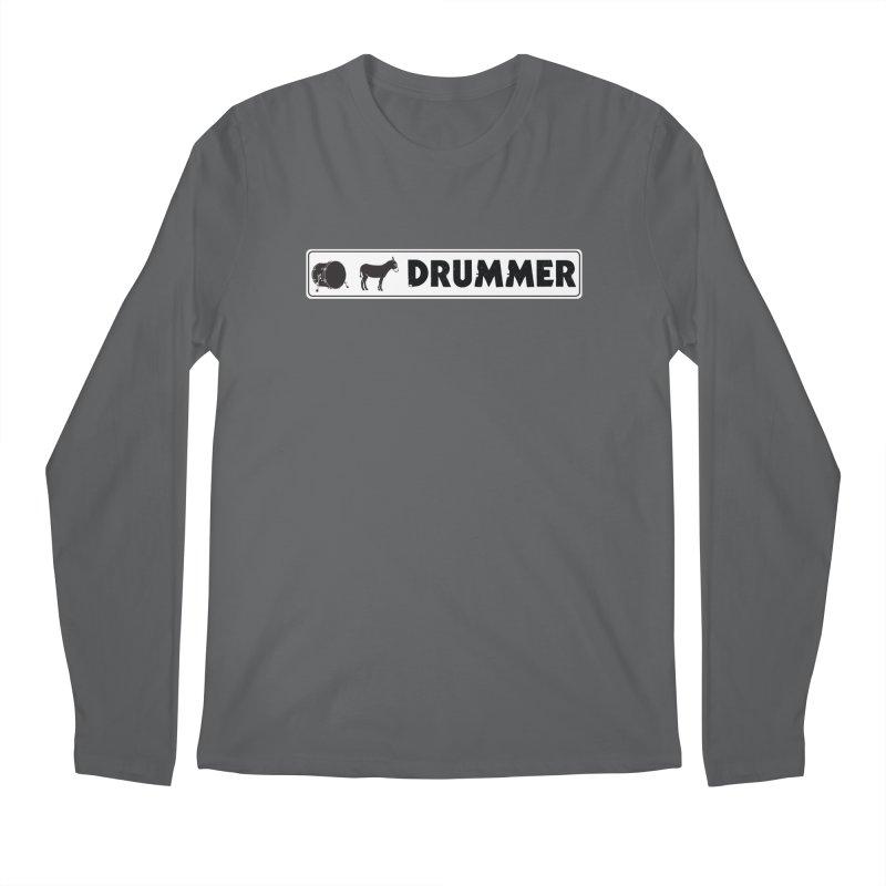 Kick Ass Drummer - White Rectangle Logo Men's Regular Longsleeve T-Shirt by Drum Geek Online Shop