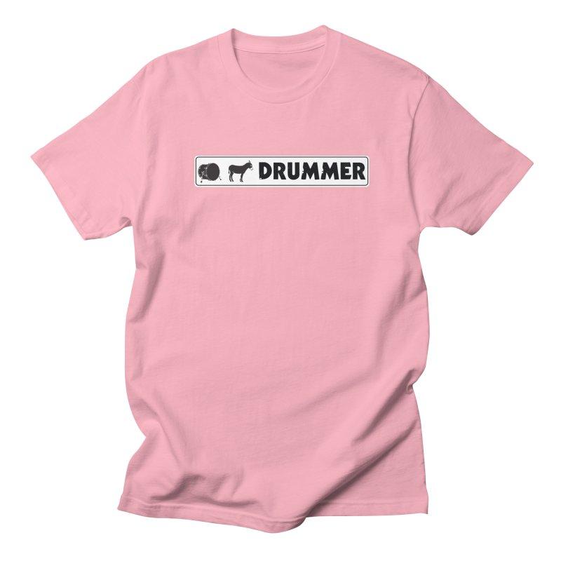 Kick Ass Drummer - White Rectangle Logo Women's Regular Unisex T-Shirt by Drum Geek Online Shop