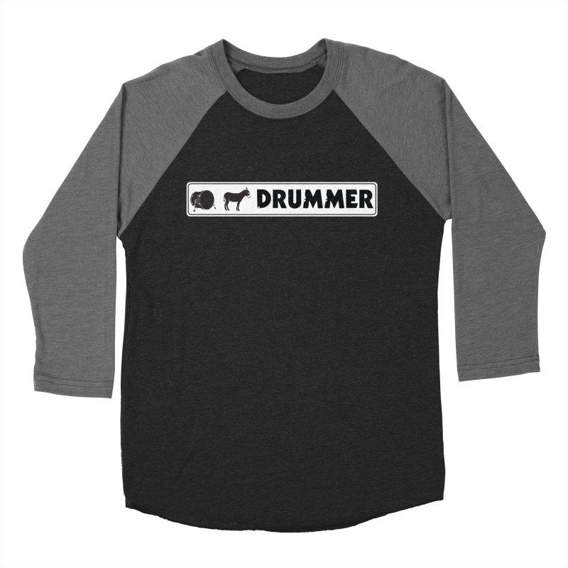 Kick Ass Drummer - White Rectangle Logo Women's Baseball Triblend Longsleeve T-Shirt by Drum Geek Online Shop