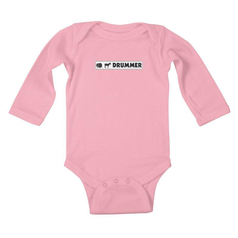 Kick Ass Drummer - White Rectangle Logo Kids Baby Longsleeve Bodysuit by Drum Geek Online Shop