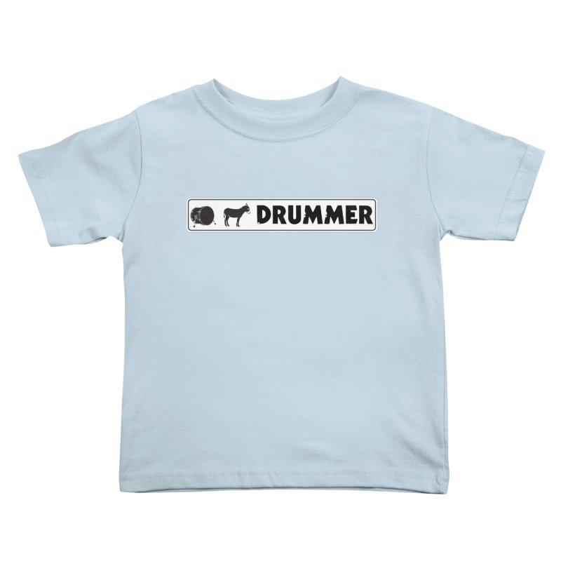 Kick Ass Drummer - White Rectangle Logo Kids Toddler T-Shirt by Drum Geek Online Shop