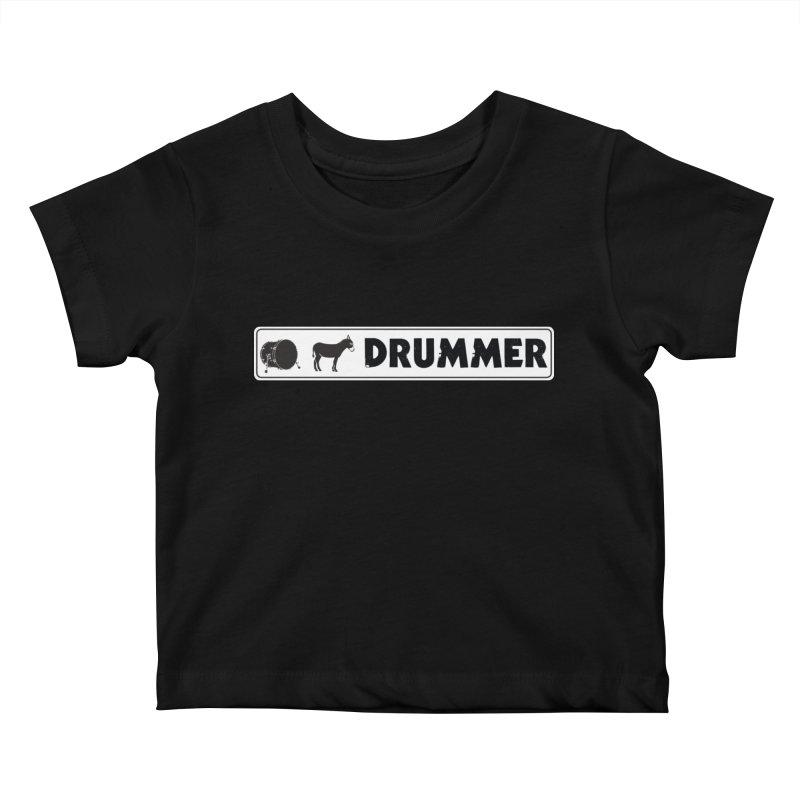 Kick Ass Drummer - White Rectangle Logo Kids Baby T-Shirt by Drum Geek Online Shop
