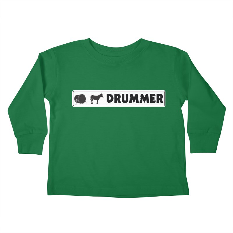 Kick Ass Drummer - White Rectangle Logo Kids Toddler Longsleeve T-Shirt by Drum Geek Online Shop
