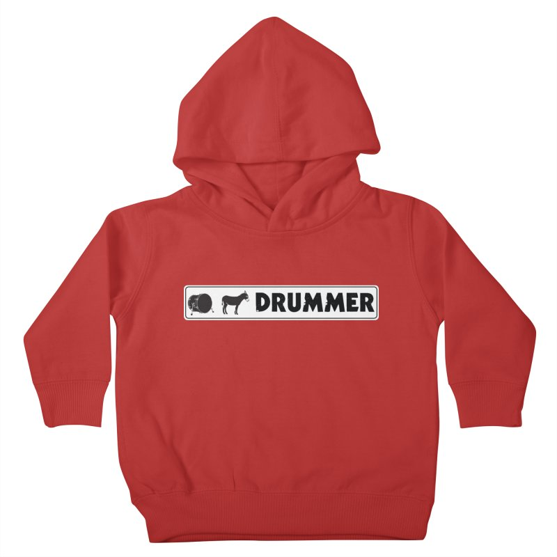 Kick Ass Drummer - White Rectangle Logo Kids Toddler Pullover Hoody by Drum Geek Online Shop