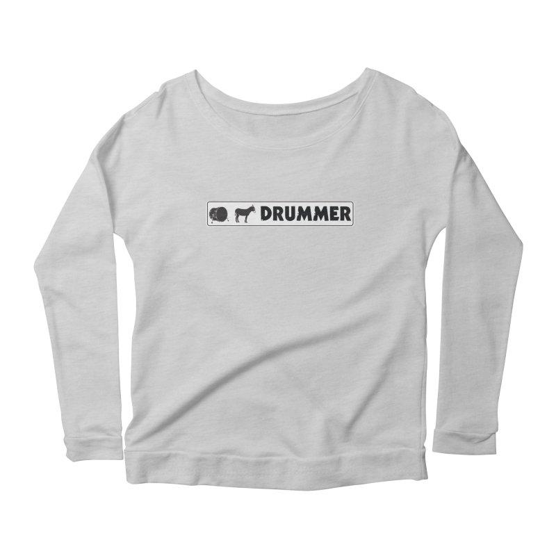 Kick Ass Drummer - White Rectangle Logo Women's Scoop Neck Longsleeve T-Shirt by Drum Geek Online Shop