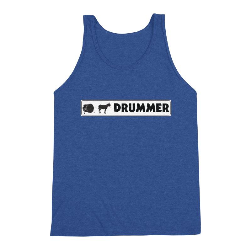 Kick Ass Drummer - White Rectangle Logo Men's Triblend Tank by Drum Geek Online Shop