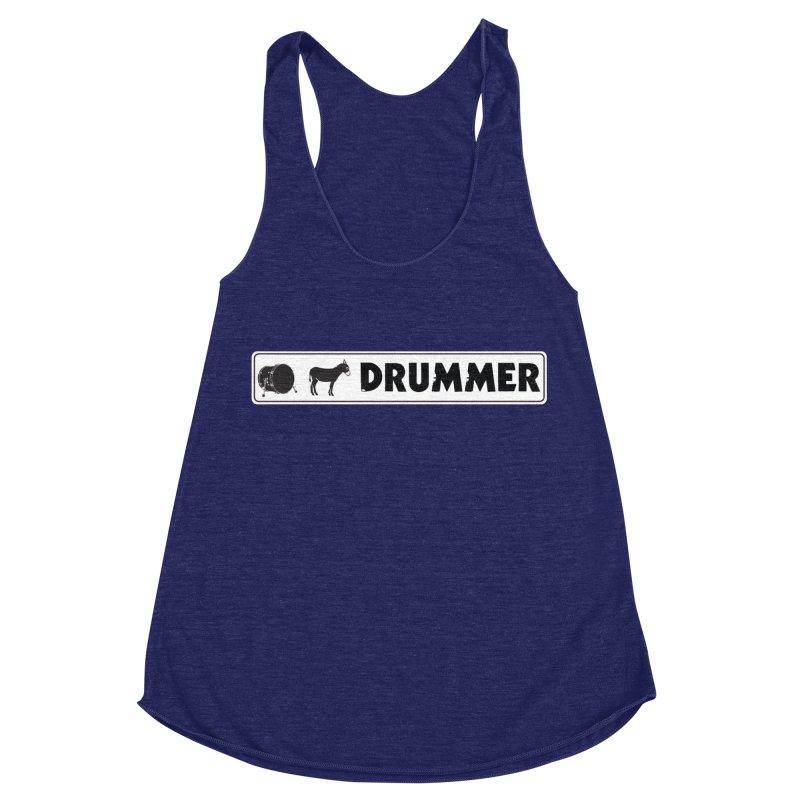 Kick Ass Drummer - White Rectangle Logo Women's Racerback Triblend Tank by Drum Geek Online Shop