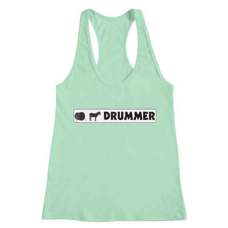 Kick Ass Drummer - White Rectangle Logo Women's Racerback Tank by Drum Geek Online Shop