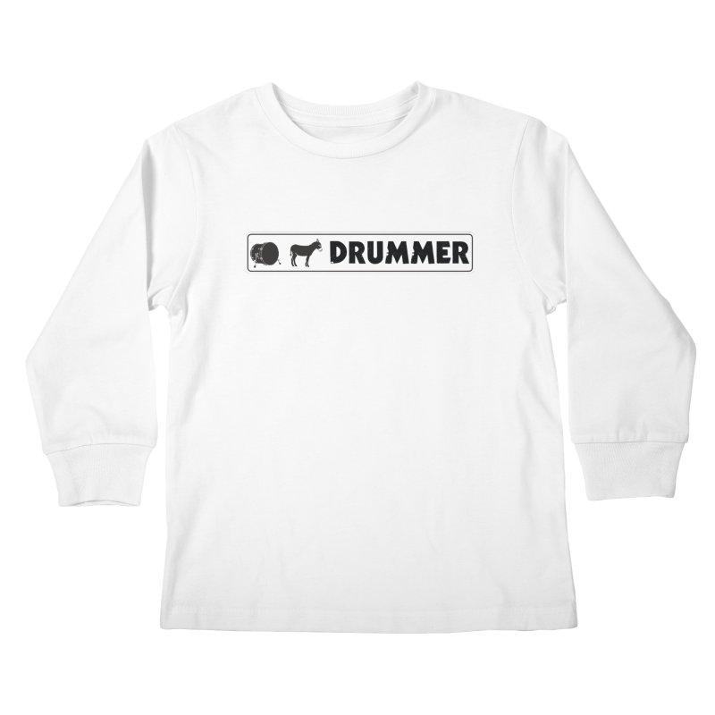 Kick Ass Drummer - White Rectangle Logo Kids Longsleeve T-Shirt by Drum Geek Online Shop