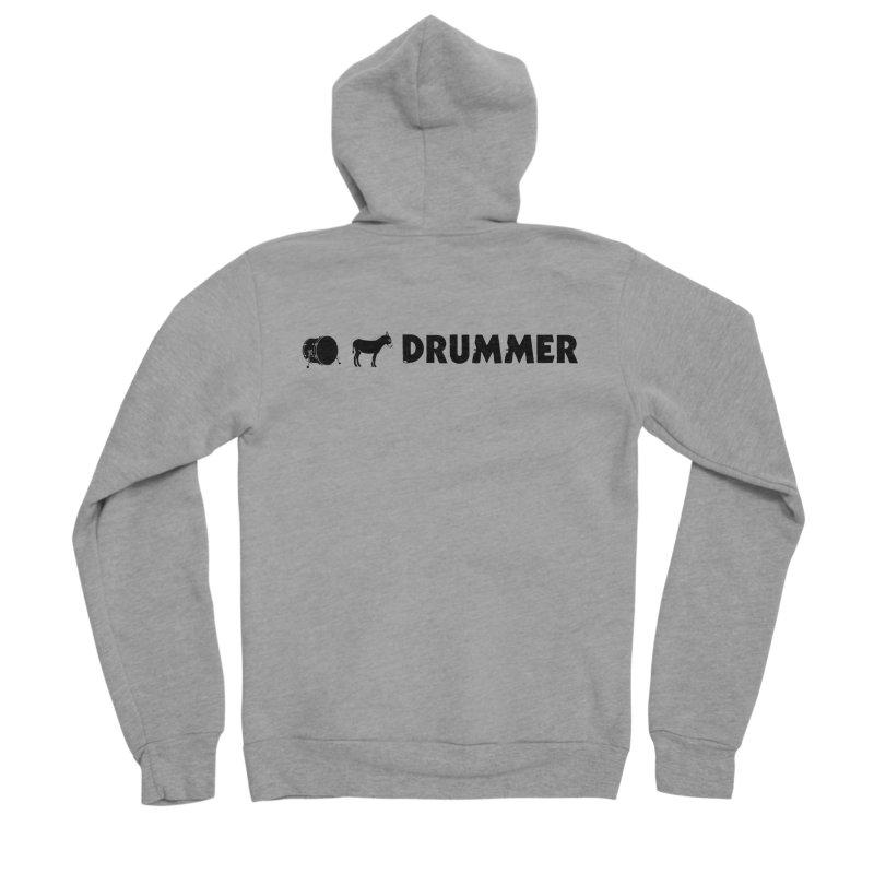 Kick Ass Drummer - Black Logo Men's Sponge Fleece Zip-Up Hoody by Drum Geek Online Shop