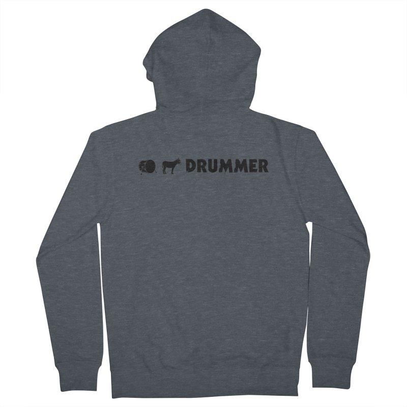 Kick Ass Drummer - Black Logo Men's French Terry Zip-Up Hoody by Drum Geek Online Shop