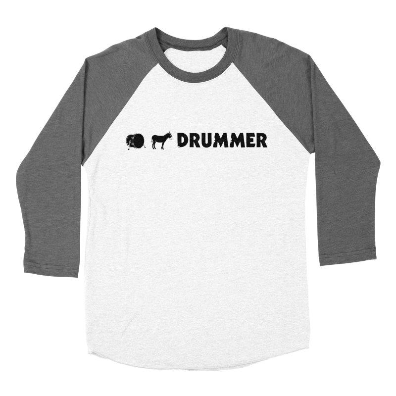 Kick Ass Drummer - Black Logo Women's Baseball Triblend Longsleeve T-Shirt by Drum Geek Online Shop