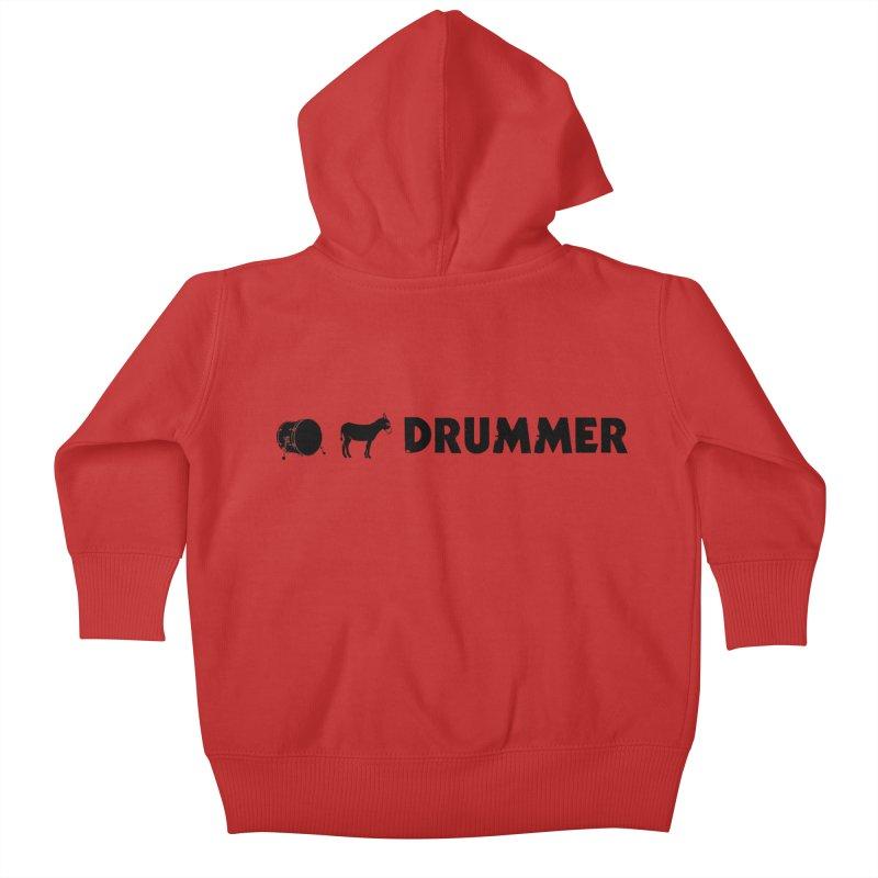 Kick Ass Drummer - Black Logo Kids Baby Zip-Up Hoody by Drum Geek Online Shop