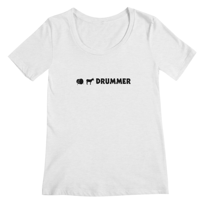 Kick Ass Drummer - Black Logo Women's Regular Scoop Neck by Drum Geek Online Shop