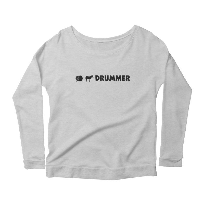 Kick Ass Drummer - Black Logo Women's Scoop Neck Longsleeve T-Shirt by Drum Geek Online Shop